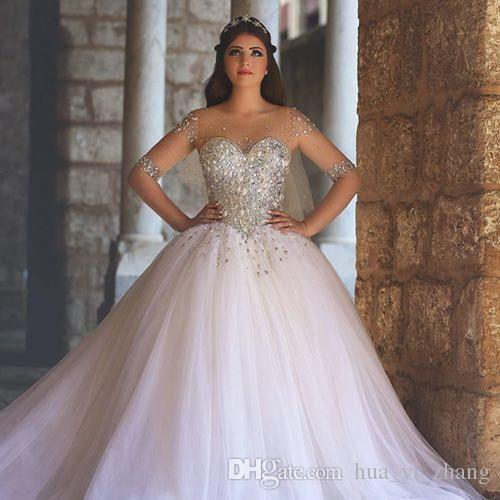 2017 Bling Ball Gown Wedding Dresses With Sweetheart