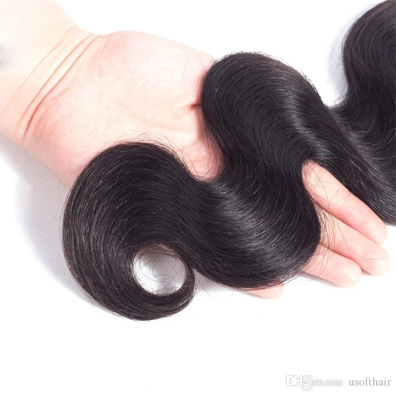"""Body Wave 100% Brazilian Hair Virgin Remy Human Hair Weave Weft 3 /4 Bundles Unprocessed Natural Color Extensions Mixed Length 16"""" 18"""" 20"""""""