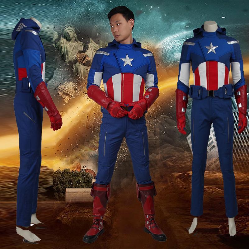 db3f0a8c0b9 Compre 2016 Filme Os Vingadores 1 Capitão América Traje Cosplay Steve  Rogers Adulto Superhero Halloween Conjunto Inteiro De Manmeilinxiao2016