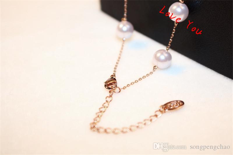 Vintage Pearl Necklace Rose Gold Plated Link Chain Necklace Fashion Women Choker Necklace for Bride Wedding Party Jewelry