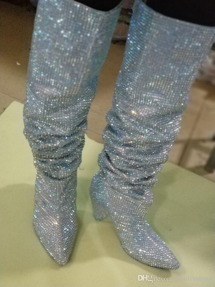 2017 fashion women glitter boots knee high booties pointed toe spike heel boots diamond stud party shoes rhinestone stud booties real pic