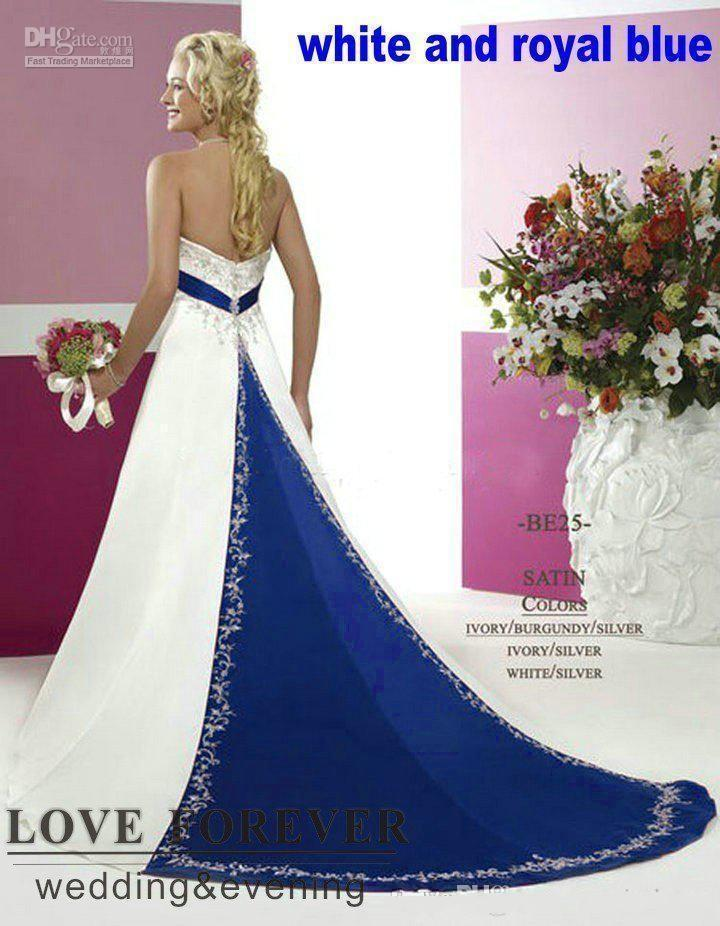 Custom Made Vintage Plus Size Wedding Dresses Silver Embroidery On Satin White and Royal Blue Floor Length Bridal Gowns for Women