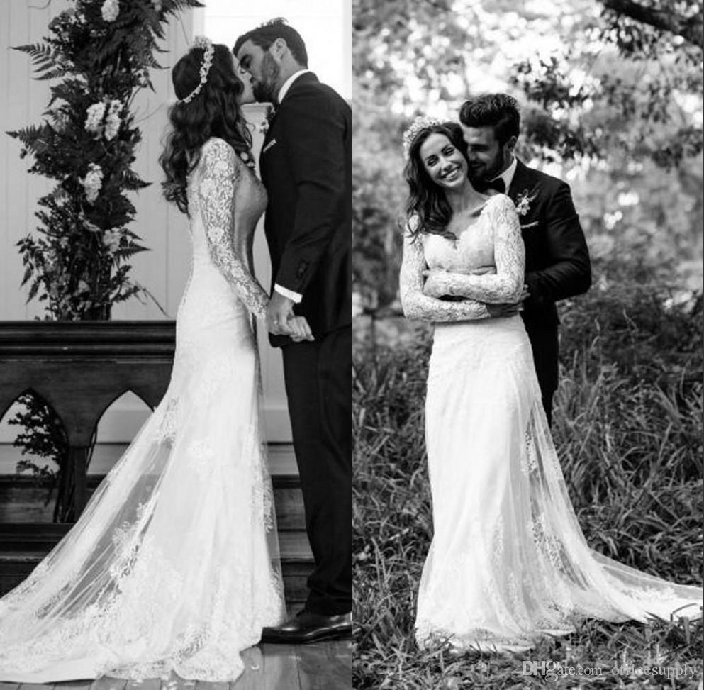 Vintage Boho Full Lace Wedding Dresses 2017 Mermaid Long Sleeve Backless Plus Size Country Style Custom Made Bridal Gowns For Older Brides