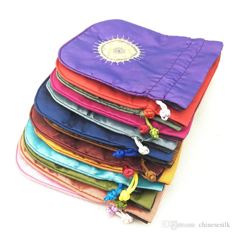 Ethnic Embroidery Sun Fabric Gift Pouch Satin Drawstring Jewelry Gift Packaging Bags Lavender Perfume Coin Storage Pocket Sachet