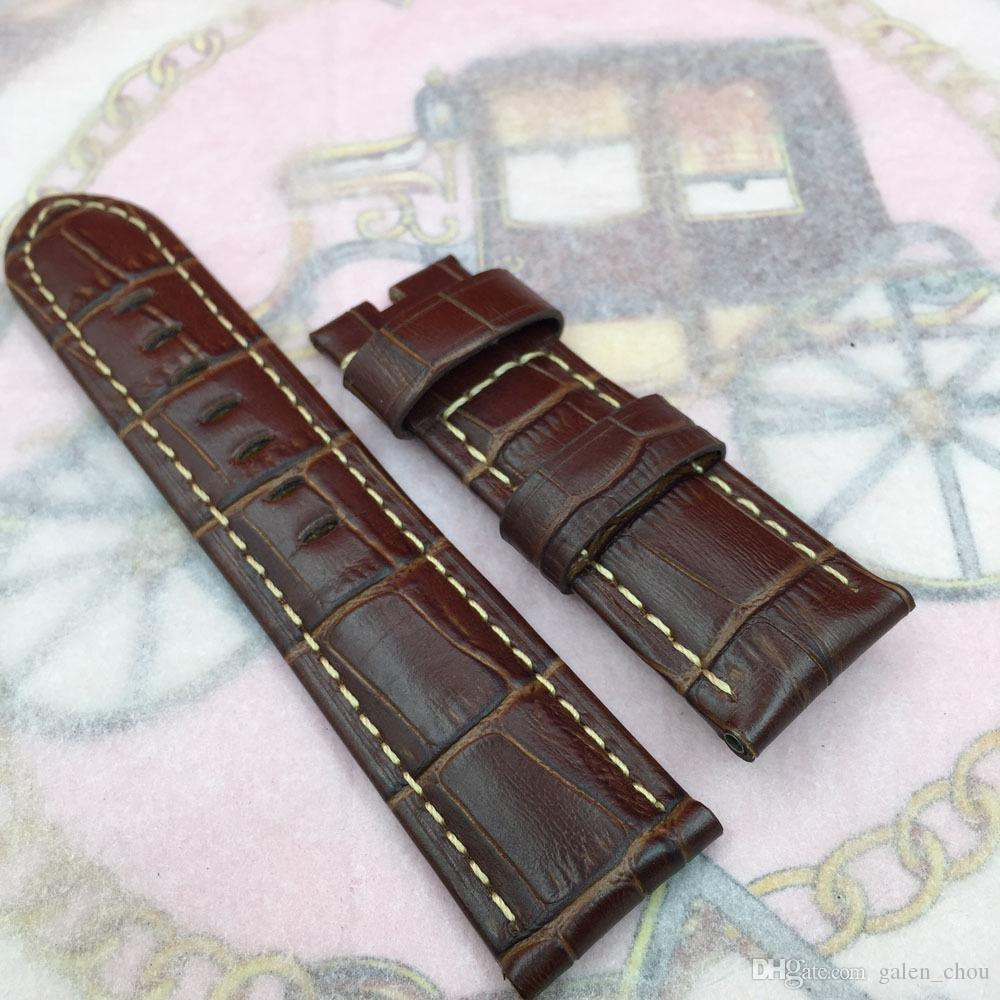 26mm 125/75 mm de alta calidad Marrón Rojo Bambú Serie Banda de cuero de becerro para Panerai reloj UNMINOR