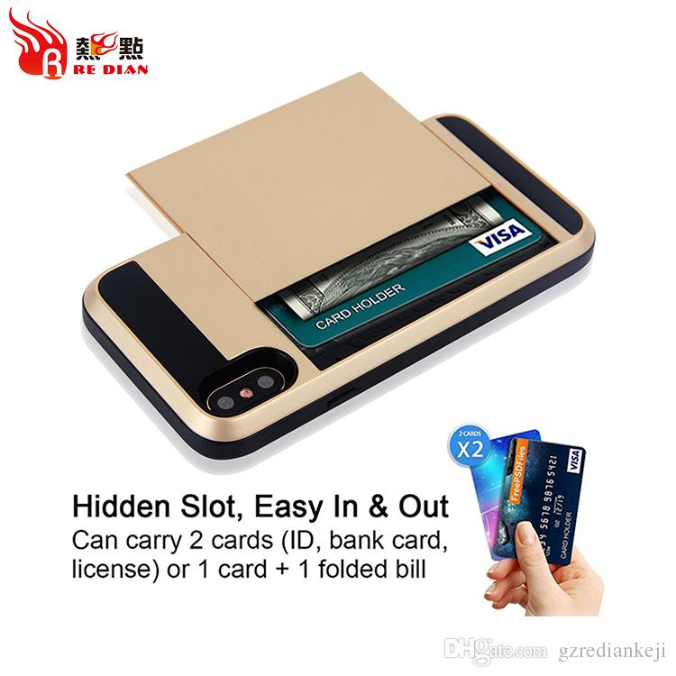 Luxury cell phone case wallet for iphone X/10 Card Hidden Slot Hybrid Armor 2 in 1 Shockproof Design