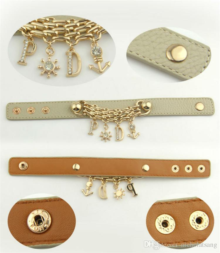 Venta al por mayor de fábrica 18K chapado en oro de cuero negro Bohemia Style Anchor Charm Bracelet con letras colgantes Crystal Fashion Jewelry para mujeres