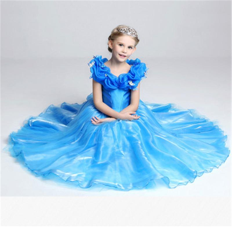 2017 Girls Cinderella Dresses Kids New Princess Dress Little Girl ...