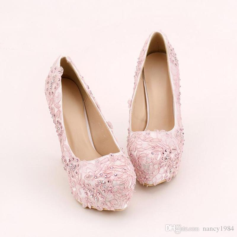 Chaussures rose dentelle bal main strass Robe de mariée Chaussures Plate-forme Chaussures formelles 5,5 pouces Wedding Party confortable Pumps