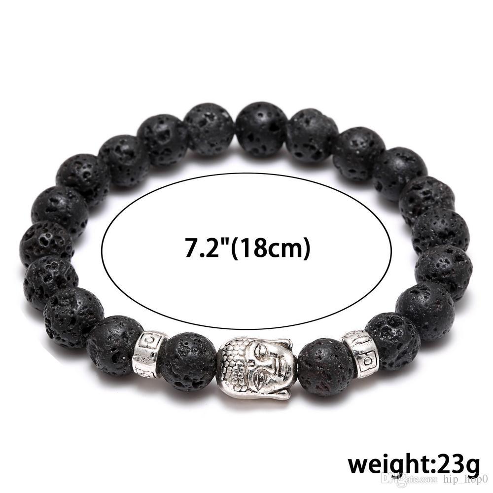 Herren Damen Diffusor Schmuck Anti-Müdigkeit Silber Buddha Lava Naturstein Charms Armbänder Vulkanische Rock-Gebets-Perlen Armband