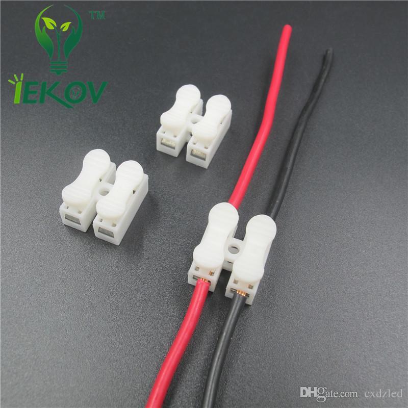 2p Connettori a molla filo senza saldatura senza viti Morsetto cavo connettore rapido Morsetto 2 vie Easy Fit striscia led