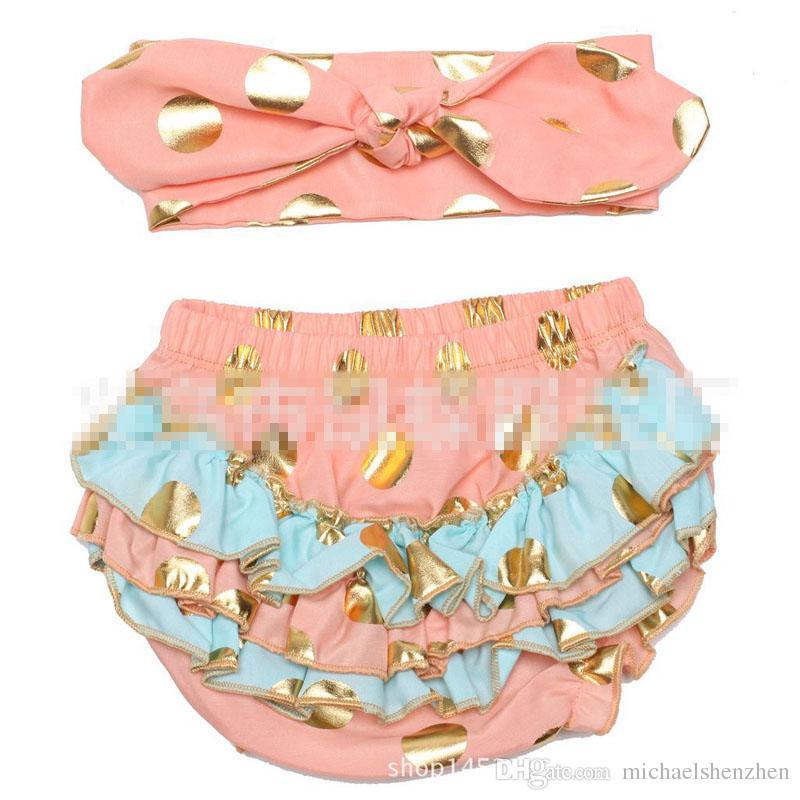 6 Design kids bronzing dot pp pants Hair band suit Free DHL fashion baby toddlers boy girl bowknot dot pants shorts Leggings B001