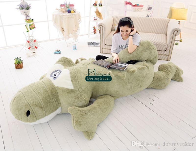 Dorimytrader Jumbo Crocodile Toy Plush Soft Stuffed Alligator Sofa Tatami Great Christmas Gift Decoration 118inch 300cm DY61038