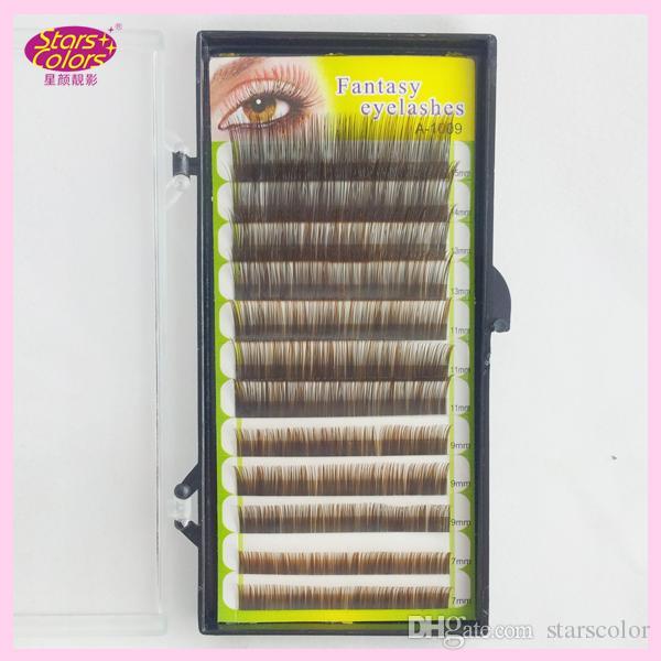 Mix size Nano eyelash Colorful False Eyelash Extension 0.1mm C Curl Double Colors in single eyelash natural soft eyelashes