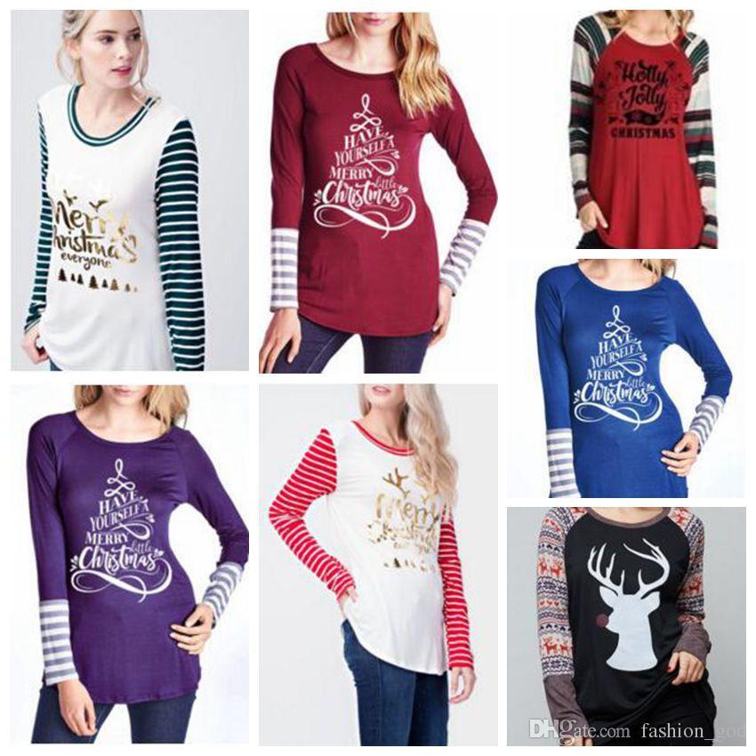 90d8211d5f80a0 T Shirt Christmas Women Xmas Tops Elk Deer Shirts Xmas Letter Striped Tees  Casual Santa Claus Blouse Fashion Long Sleeve Shirts Tunic B3601 Shirts  Mens Cool ...