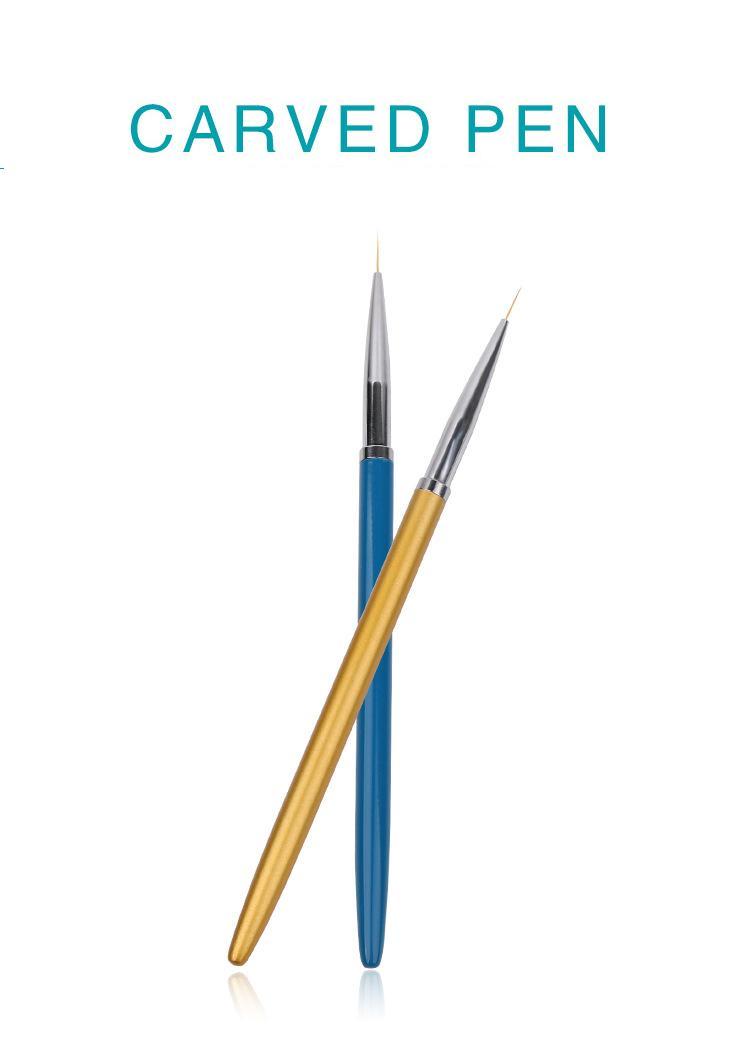 C016 Yeni Varış Boyama Çizim Astar Kalem 3 adet Metal Kolu Ultrathin Naylon Lehçe Sanat Tırnak Fırçalar Çizim Oyma Kalem