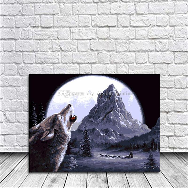 2018 Framed Picture Poster Diy Oil Painting By Numbers Moonlight ...