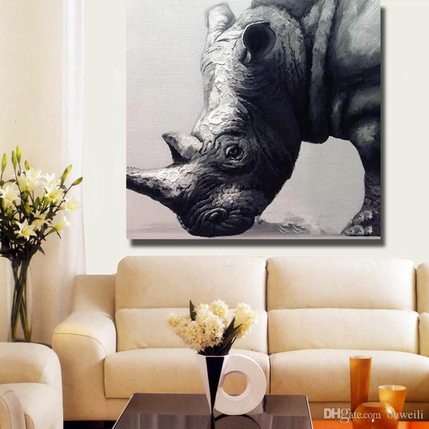 Hand painted large size cheap wial animal oil painting pictures no frame modern home decor abstract canvas art
