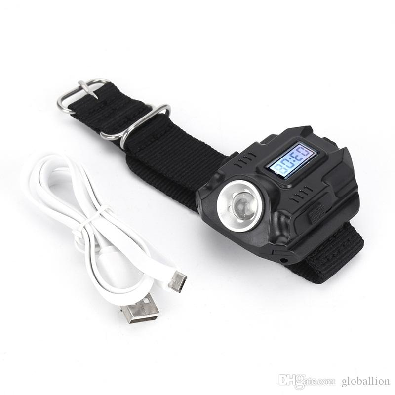 ALONEFIRE 1188 New Portable CREE XPE Q5 R2 LED Wrist Watch Flashlight Torch Light USB Charging Wrist Model Tactical Rechargeable Flashlight