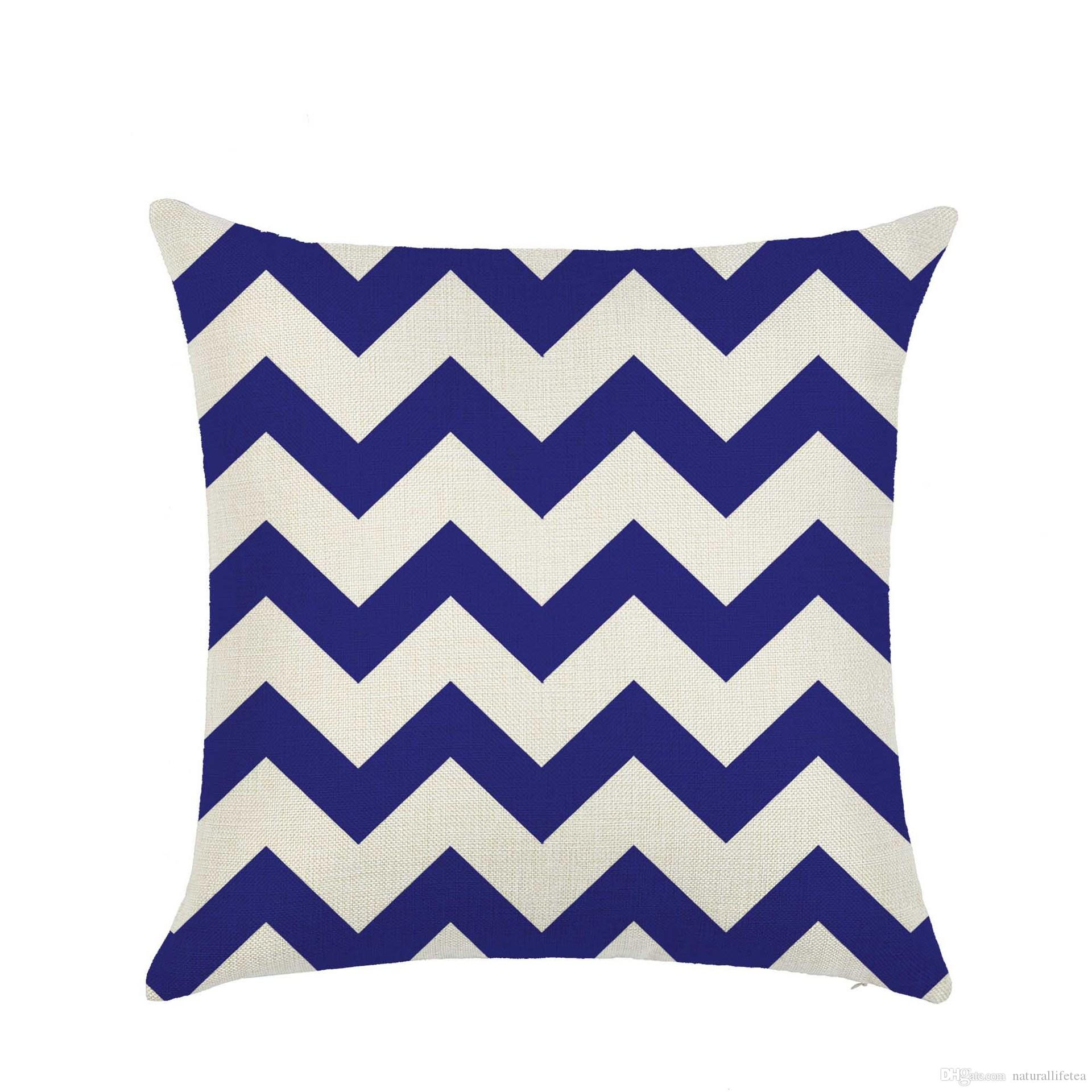 Printing Pillow Cover w/ Nnautic Geometric Wave Pattern 45x45cm Cotton & Linen Pillow case Throw Pillow Cushion Case Home Decorative h-0039