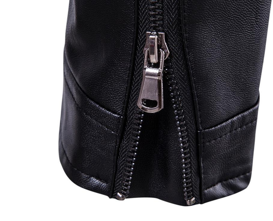 Jacket PU Leather Adjustable Strap More Incline Zipper Pockets Stringing Design Black Stand Collar Braided Man Motorcycle Jakcets Free Ship