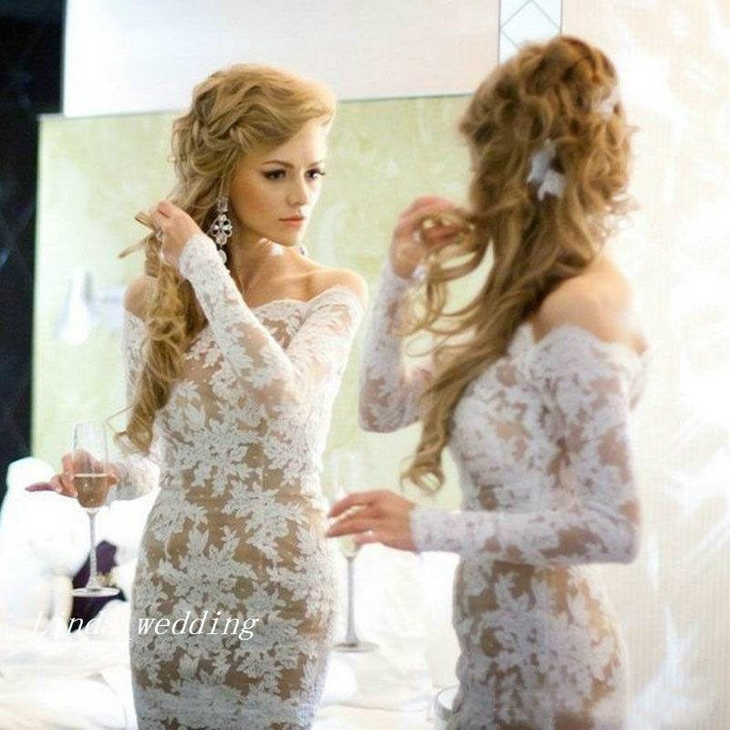 Белое кружевное платье выпускного вечера высокого качества элегантный с длинным рукавом с плеча короткое вечернее платье