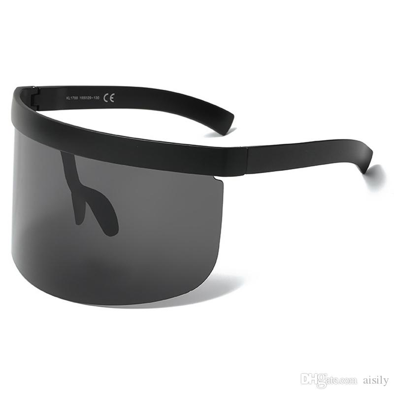 b5a60b77828 Vintage Extra Oversize Shield Visor SunglassesOversized Lenses Mask Men  Women Brand Glasses Designer Fashion Male Female Goggles UV400 L117  Prescription ...
