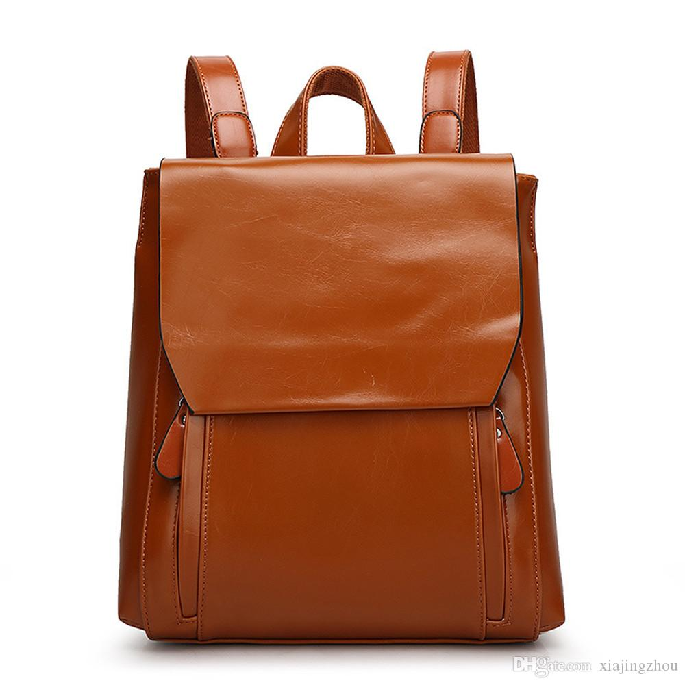 Vintage Fashion Plain Synthetic Leather Backpack Magnetic Snap . c8d9a2c01a7e0