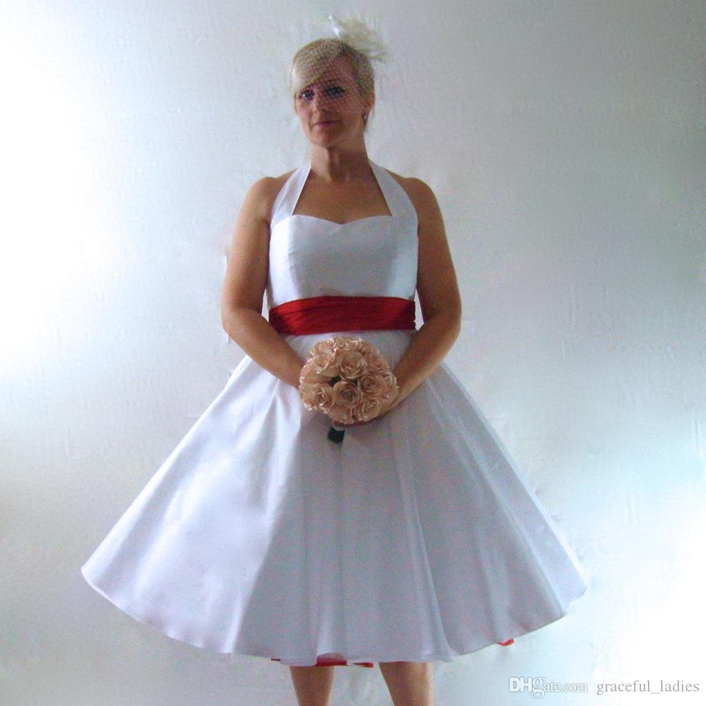 Großhandel Sexy Halter Weiße Kurze Brautkleider Satin A Linie Tee ...
