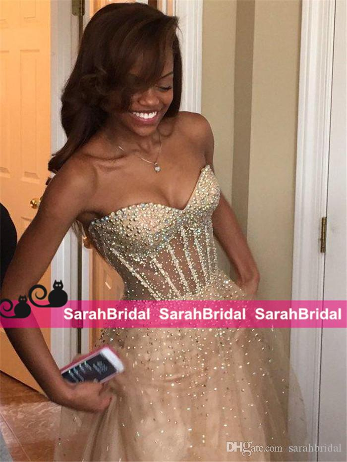 Sparkly Black Girl Fashion Prom Dresses 2016 Sheer See Through Exposed Boning Champagne Tulle Evening Pageant Gowns 2k16 for Sale Online