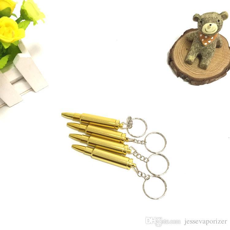 Bullet Pipe MINI Funky Bullet Metal Pipe Tobacco Smoking Pipe Key Chain Gold Pipe Gold Bullet Keychain Secret Smoking Pipe vaporizer vape