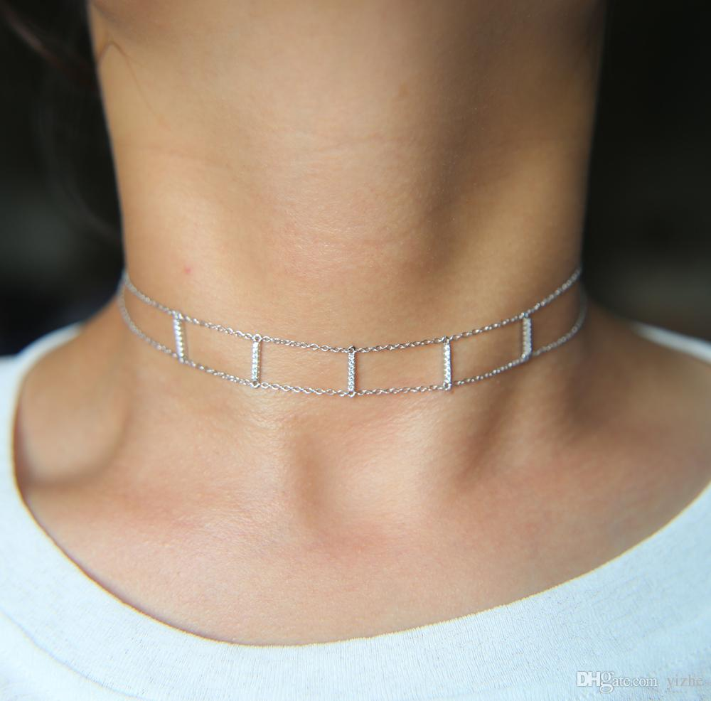 925 plata esterlina doble cadena gargantilla micro pave cz bar gargantilla moda delicada cadena de damas regalo de las señoras collar de plata