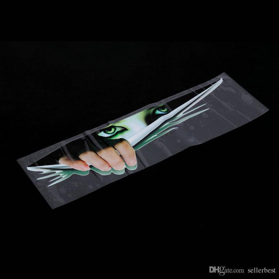 Engraçado Etiqueta Do Carro Olhos 3D Espreitando Monstro adesivo Voyeur Capuzes Do Carro Tronco Thriller Janela Traseira Decalque