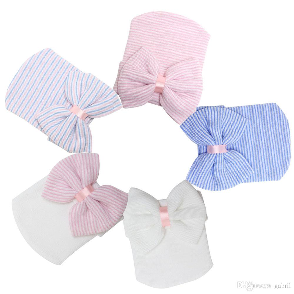 2520fdc48c81 2019 Hospital Newborn Baby Cotton Hat Baby Beanie With Bow For ...
