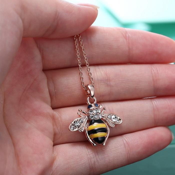 شحن مجاني الذهبي النحل روز الذهب قلادة قلادة فريد النمسا عناصر كريستال القلائد للنساء المجوهرات بالجملة