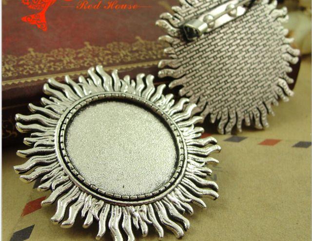 A4128 46 MM Fit 25 MM A antiga liga de zinco de metal de prata Polvo Broche Pino base configuração em branco inferior DIY acessórios de jóias por atacado