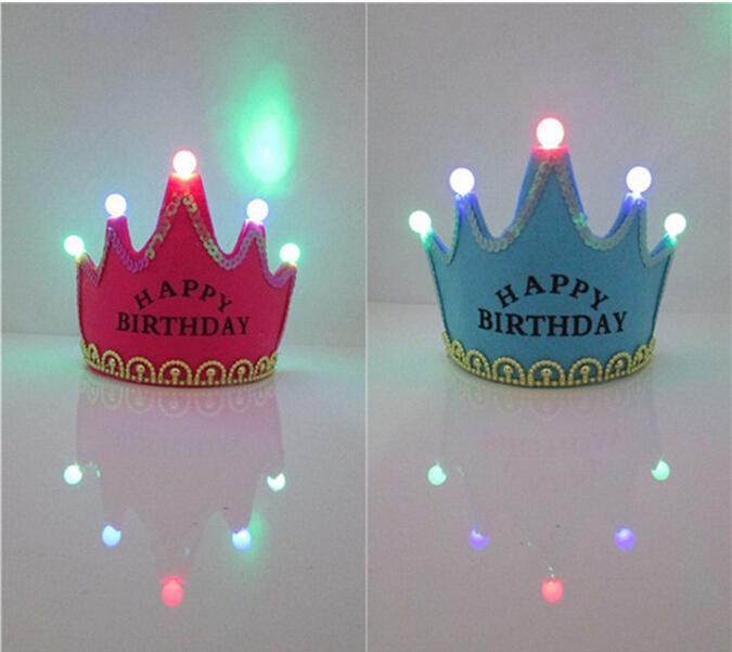Wholesale Led Glow Birthday Crown Cap Flash Headband Party Glow Non