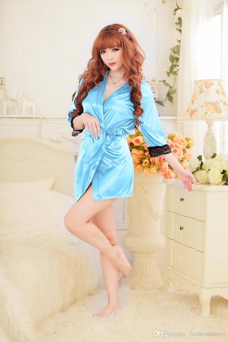Série de sous-vêtements femme Fashion Sexy Lingeries Nightgown Peignoirs Dentelle Body de soie brillante glace soie 8 couleurs
