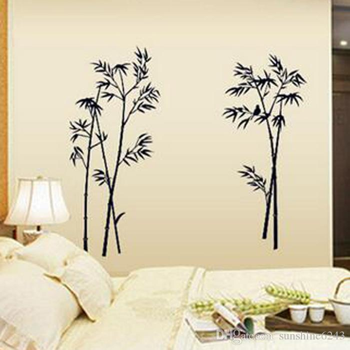 2016 neue Wandaufkleber Schwarz Bambus Wandbild Dekor Abziehbilder dekorative Abnehmbare Handwerk Kunst Wandaufkleber kostenloser versand