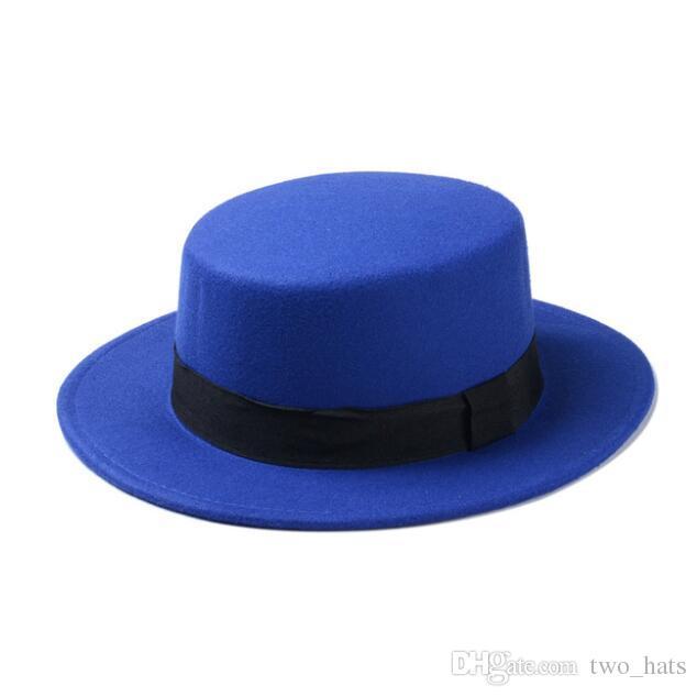 Kadın Düz Kubbe Şapkalar Yün Porkpie Sun Hat Siyah Kurdele Band ile Fedora Şapkalar Yün Boaters Sombrero