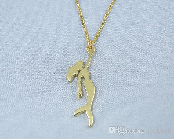-золото серебро Русалочка ожерелье принцесса Ариэль море горничная ожерелье океан морской Фея ожерелье рыбы ожерелья