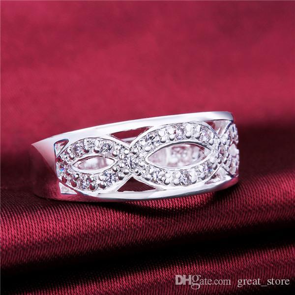 Mélanger la taille 10 pièces en argent 925 8 mots anneau incrusté de pierre GSSR614