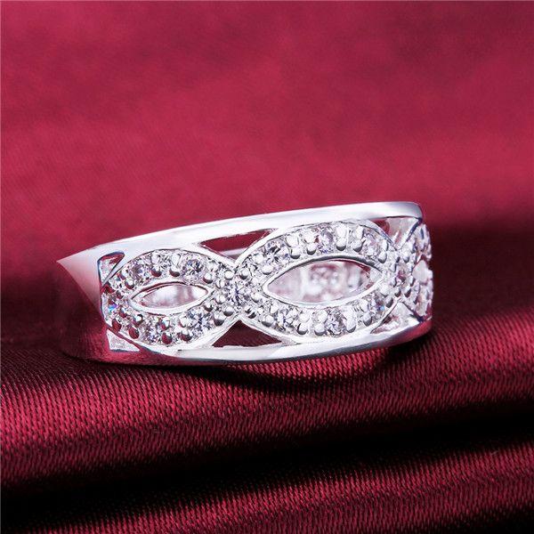 Tamaño de la mezcla 10 piezas 925 plata 8 palabras anillo con incrustaciones de piedra GSSR614 Venta directa de fábrica nuevo anillo de dedo de plata esterlina de moda