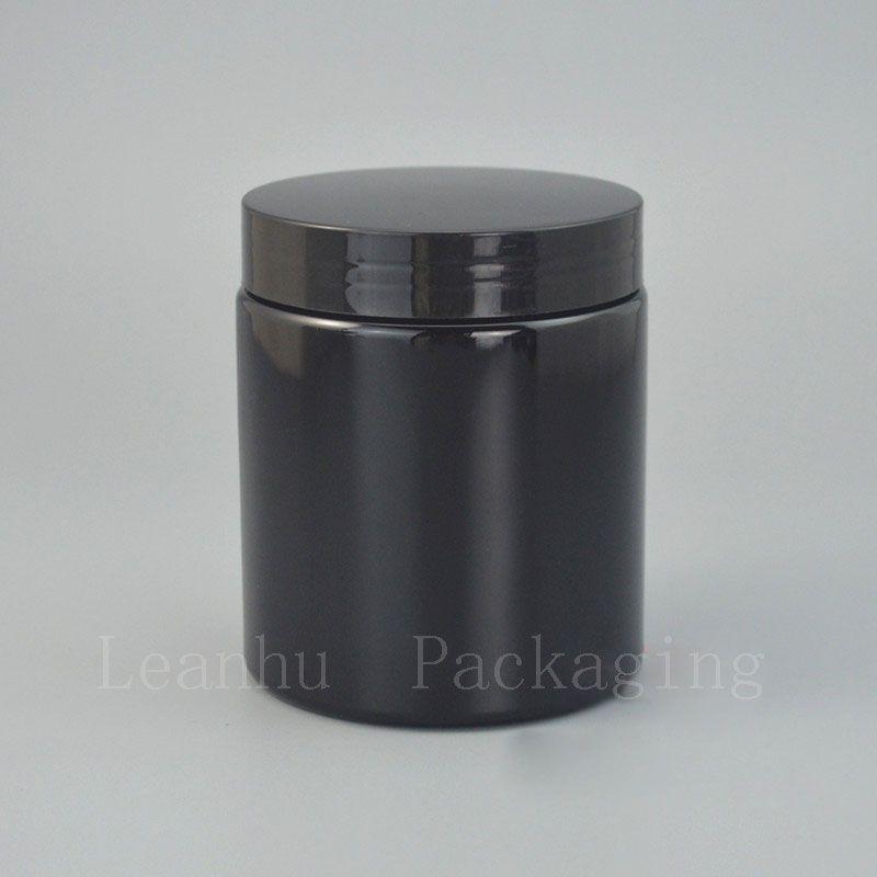 Frasco de creme preto com o tampão de parafuso plástico, recipiente cosmético vazio, 250G creme recarregável do olho, frascos de colocação em latas pessoais de creme dos cuidados com a pele