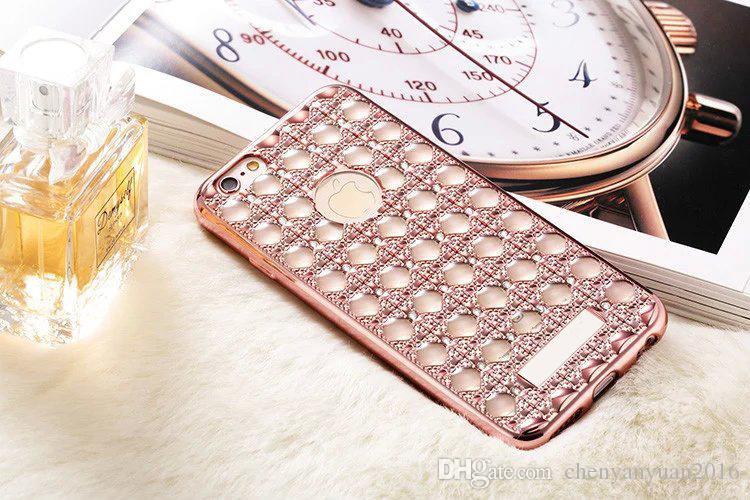 لينة كابا لآيفون 6 6 ثانية تصفيح العقيق بلينغ الأحجار الكريمة الماس حالة الهاتف لتفاح iphone 6 زائد 6 ثانية زائد 5.5 غطاء سامسونج s6 s7 A510 A710