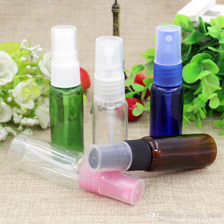20ml blue green clear brown PET Bottles with clear black Spray Pump Container High-grade Empty Plastic Spray Bottle Refillable Perfume