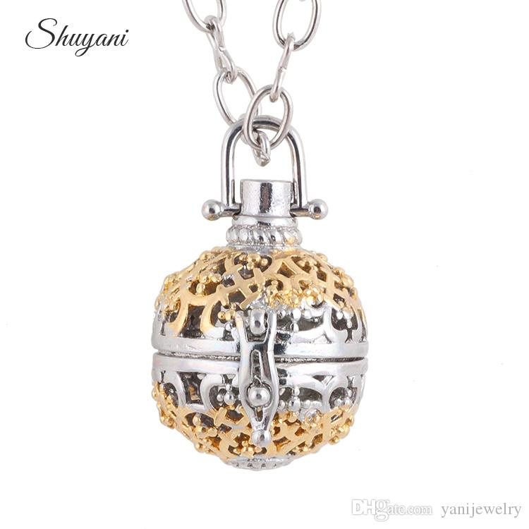 Fashion Hollow Openable Cage Aromatherapy Necklace Baby Ball Chime Music Bells Angel Statement Necklaces for Women Pregnant