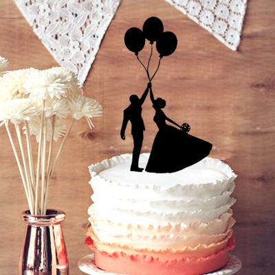 Romantic Couple Silhouette Cake Groom And Bride With 3 Balloons Wedding Topper Engagement In Decoration Snowflake