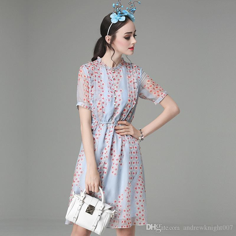 Mulheres Elegante Novo Verão Coração Vermelho Impresso Botão O Pescoço A Linha Vestidos de Grande Bainha Chiffon Vestido de Festa vestido de Baile Vestidos Femininos Plus Size