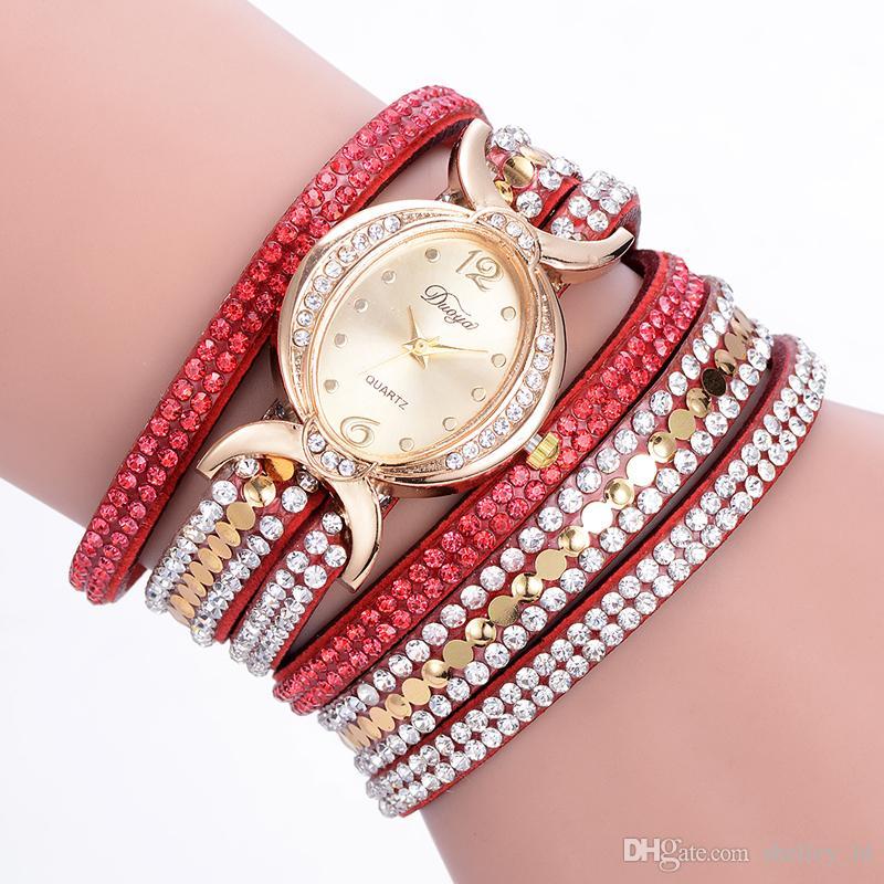 Orologio da donna di moda di lusso di strass di cristallo casual multistrato da polso al quarzo da donna Bracciale di paillettes da avvolgere Orologio da polso in lega